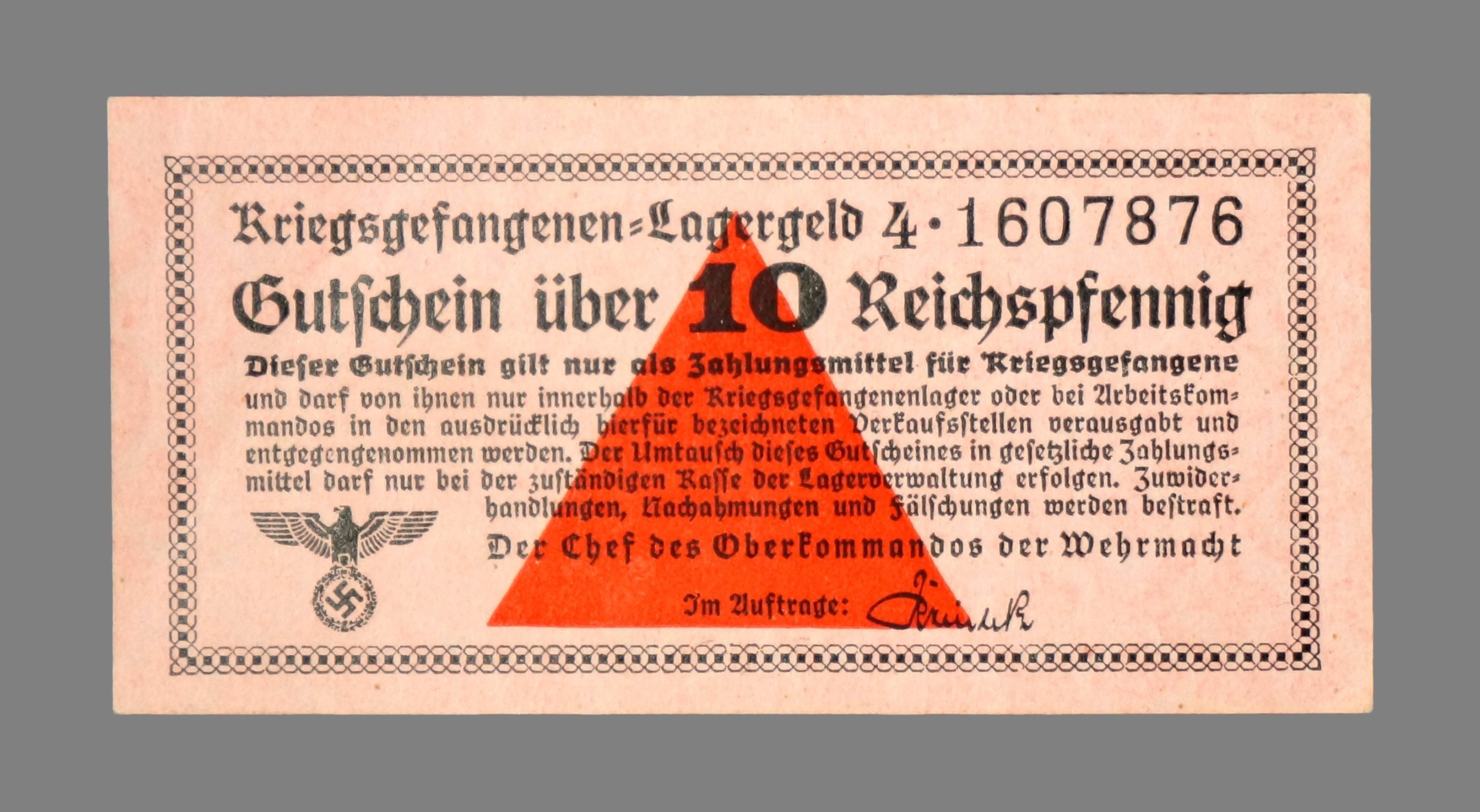 Germany, Prisoner of War, 10 reichspfennig 1939-1945
