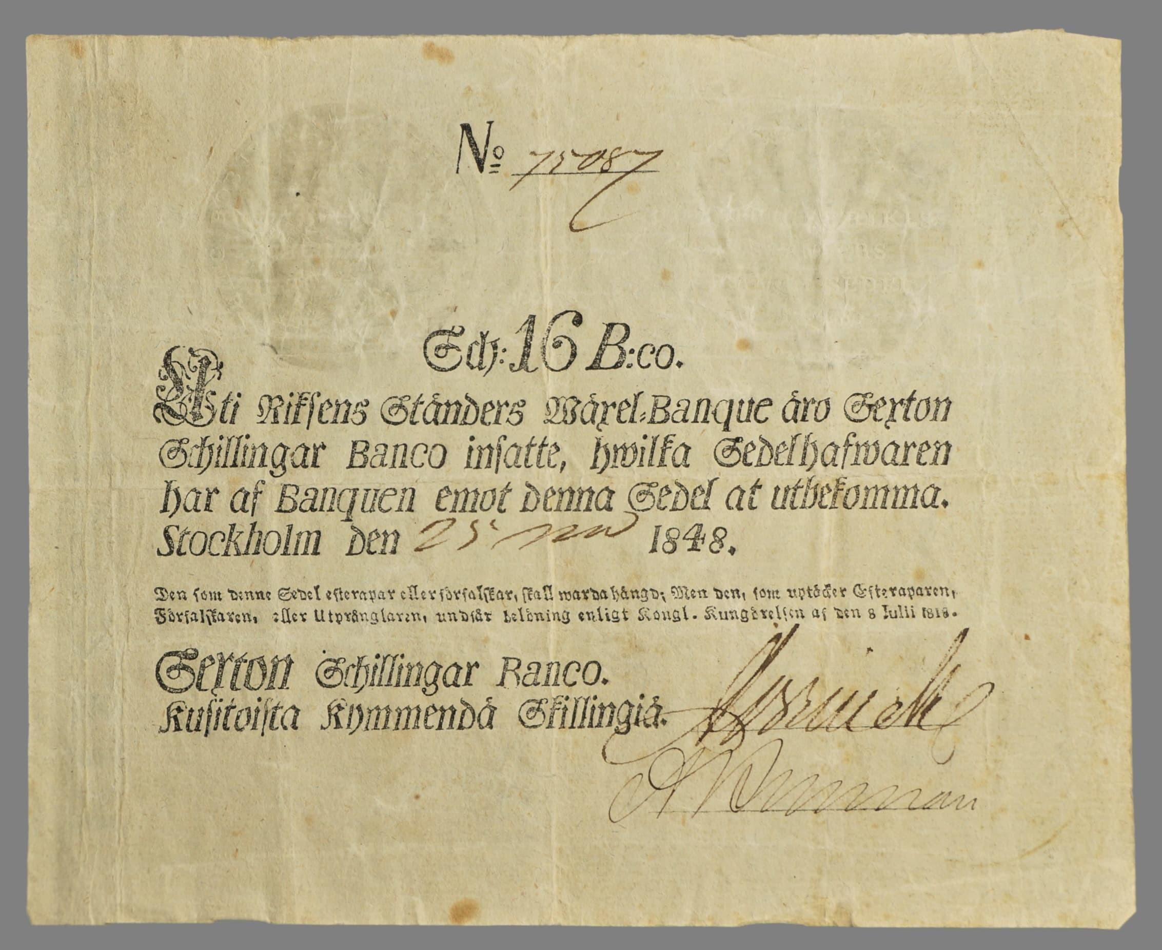 Sweden, 16 skilling banco 1848