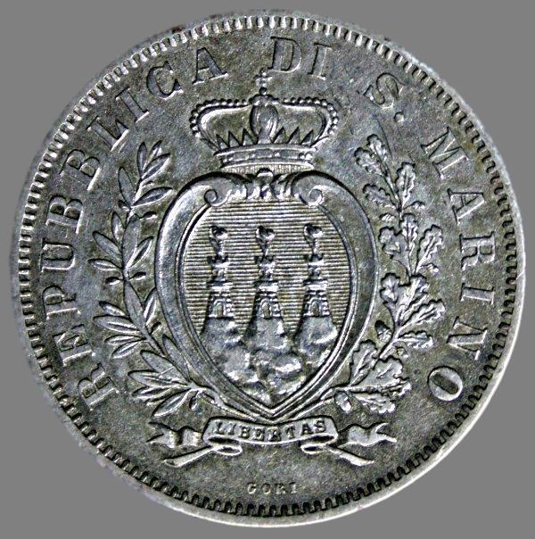 San Marino, 10 centesimi 1875
