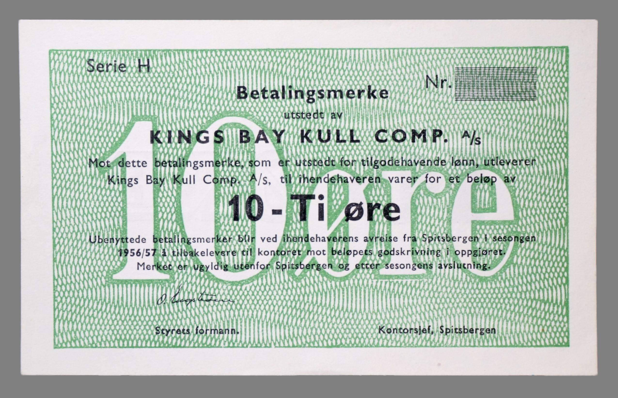 Kings Bay Kull Comp. A/S 10 øre 1956/57