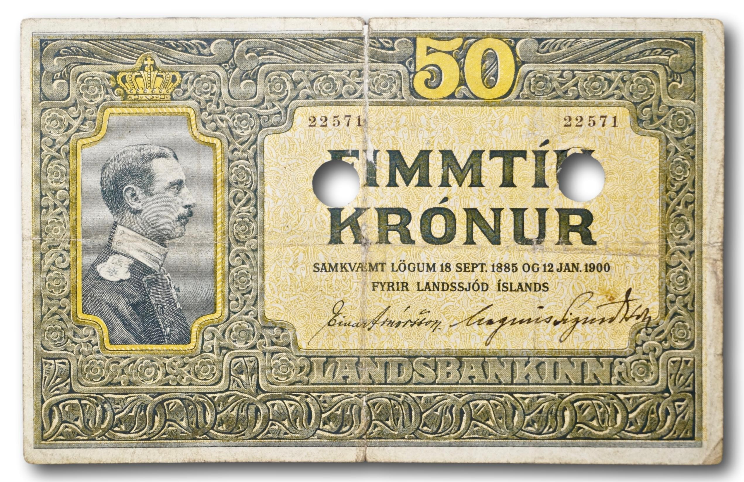 Iceland, punch hole cancelled 50 kronur 1885 and 1900