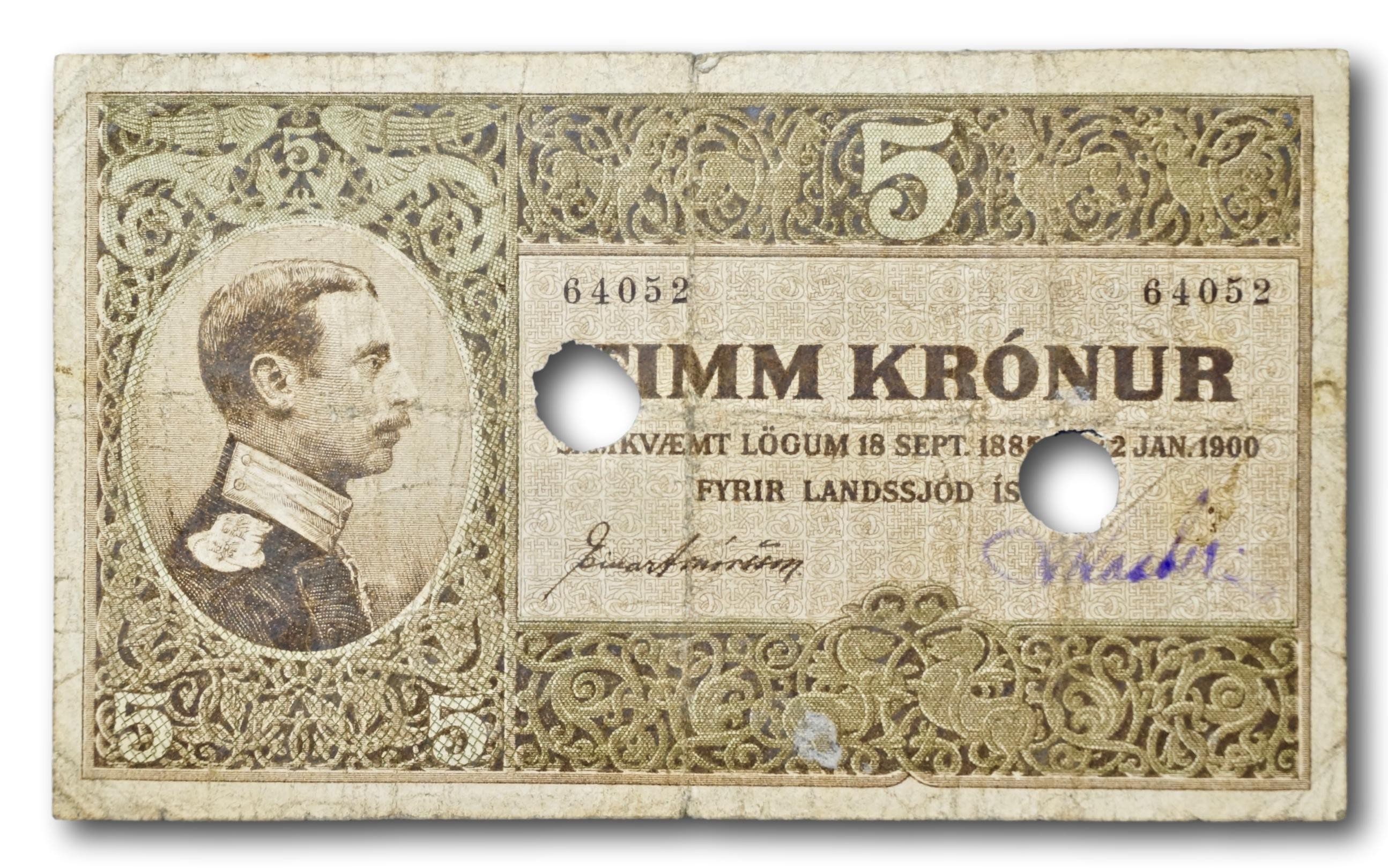 Iceland, punch hole cancelled 5 kronur 1919